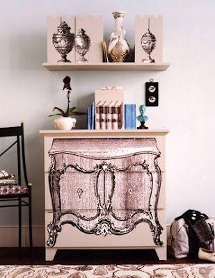 Vintage dresser image decoupaged to a modern dresser