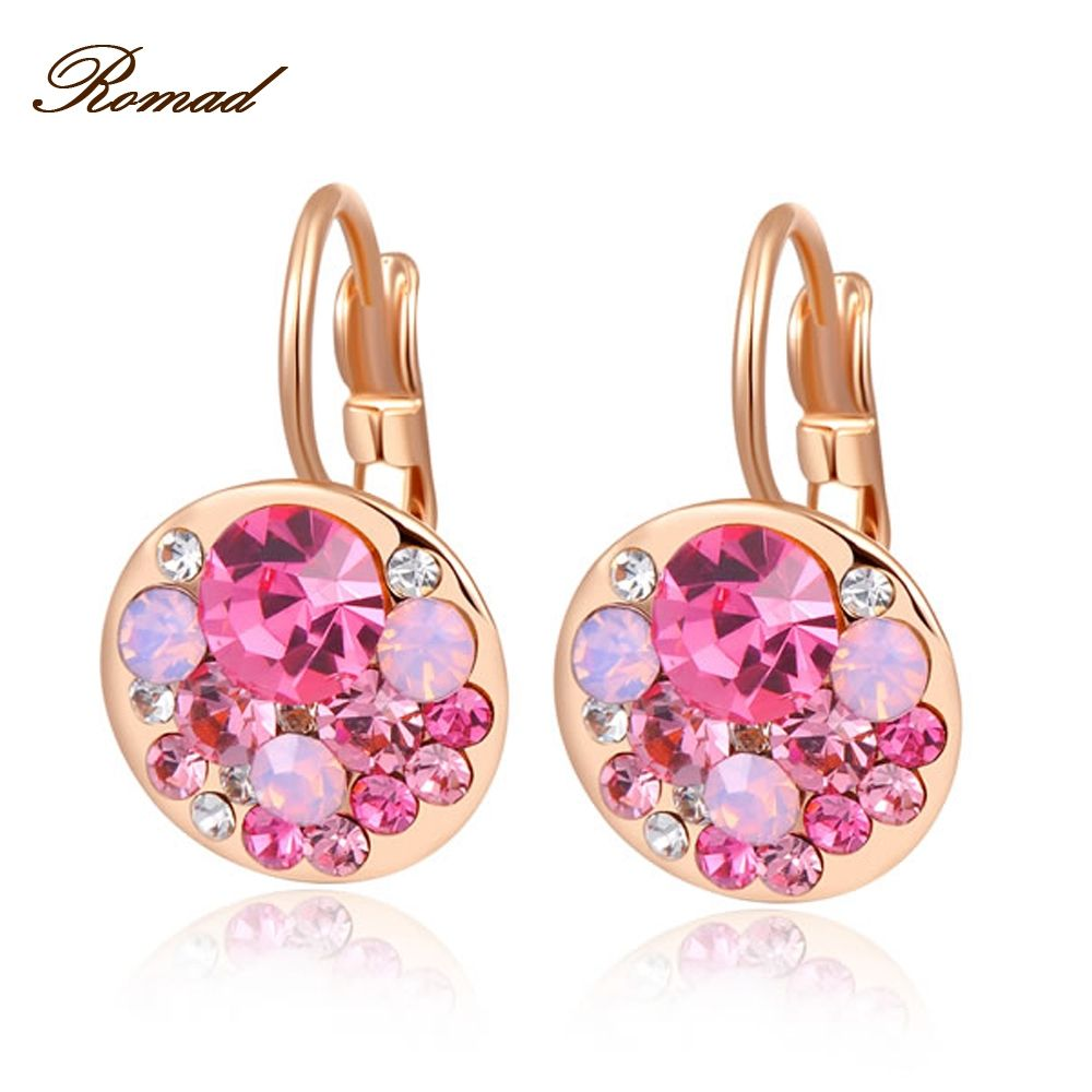 Sexy Women Stud Earrings Rose Gold Color Mysterious Rose Golden