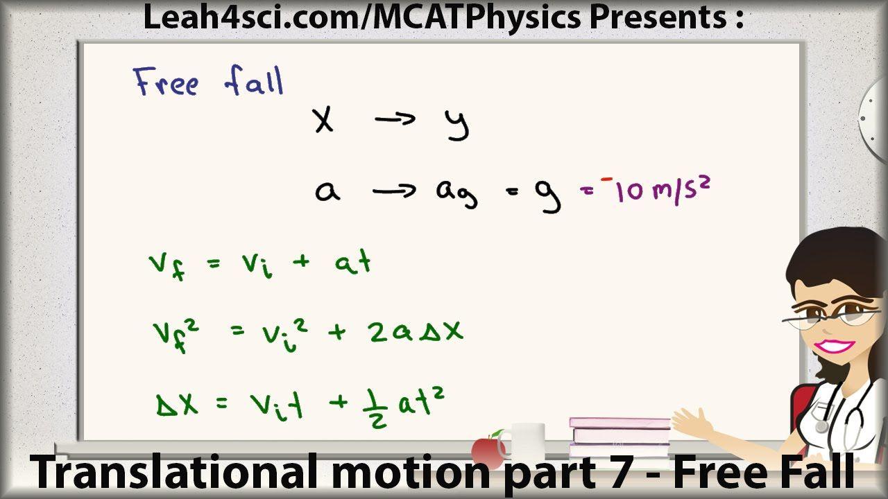 Mcat Physics Free Fall Kinematics Translational Motion See