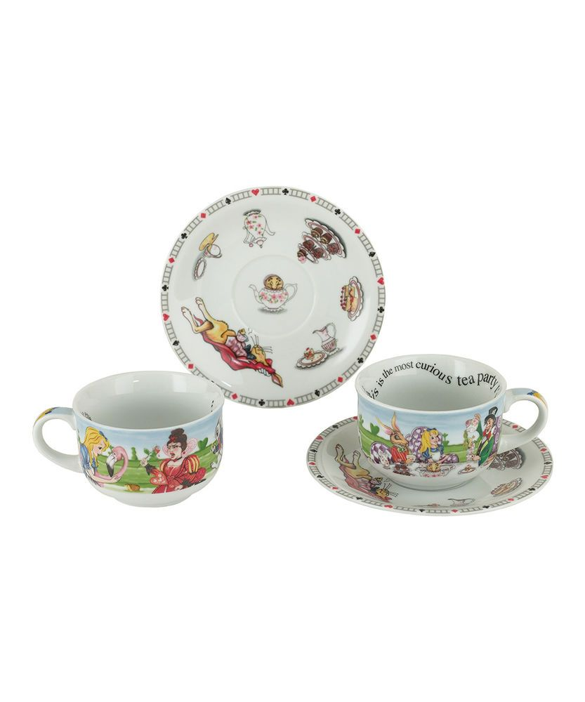 Cardew Design Alice In Wonderland 8 Oz Tea Cup Saucer Set Of 2 New