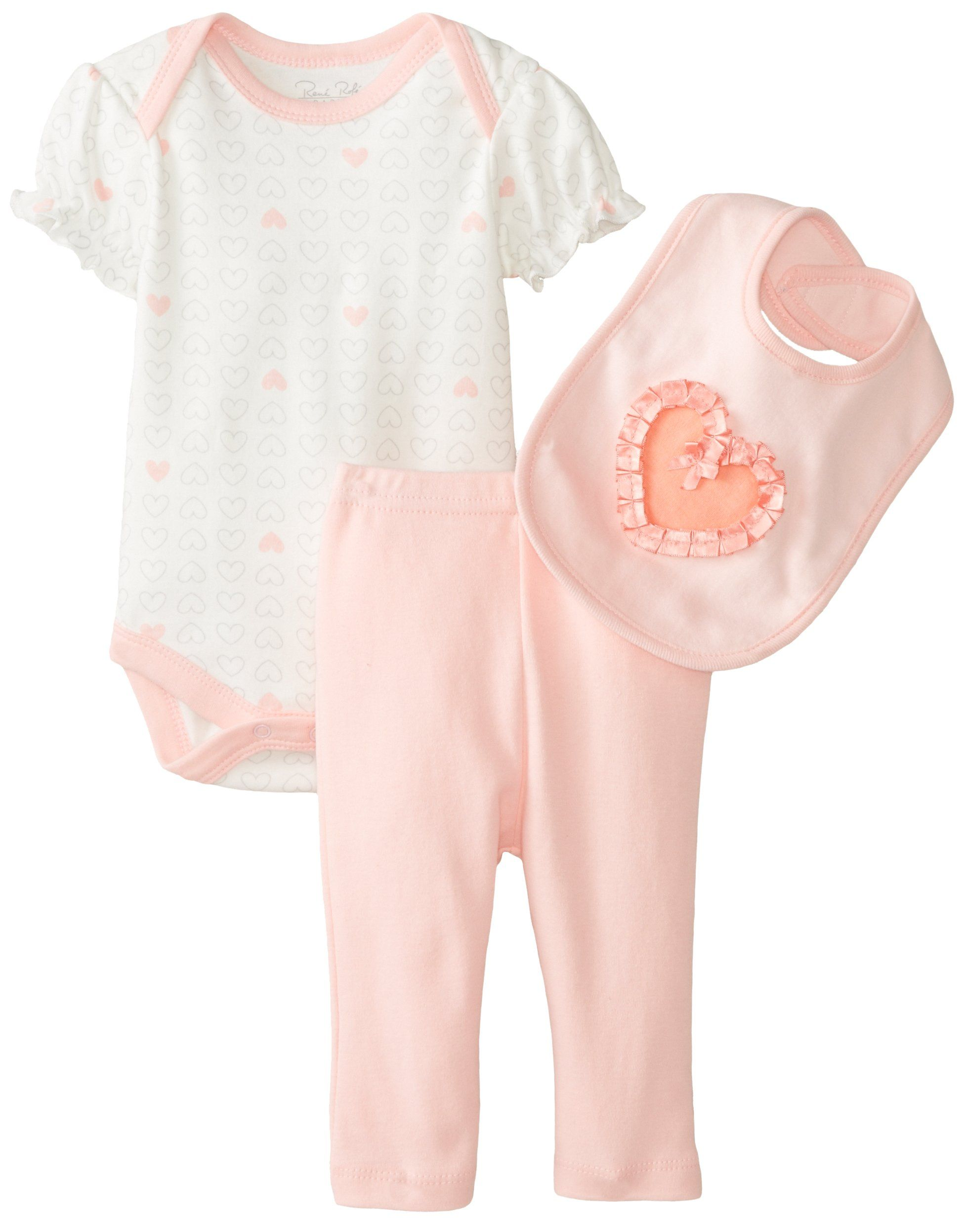 Amazon Rene Rofe Baby Baby Girls Newborn Heart 3 Piece Pant Set
