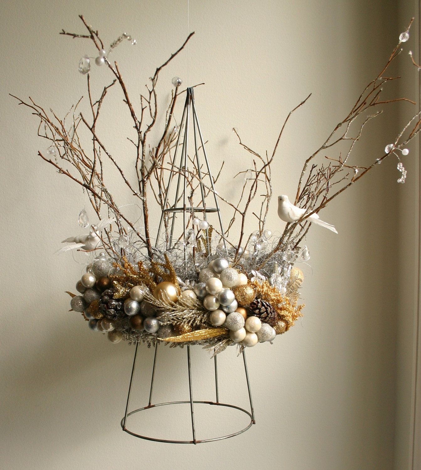 Heaven & Nature Silver And Gold Christmas Crown By