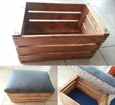 transformer une caisse en bois en coffre jouets ou pouf big diy projects pinterest. Black Bedroom Furniture Sets. Home Design Ideas