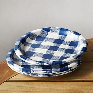 Set of 12 Blue Gingham Paper Plates : gingham paper plates - pezcame.com
