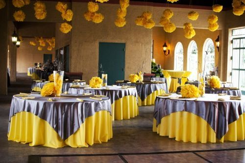 Wedding Reception Centerpieces And Decorations Yellow Grey Weddings Grey Wedding Decor Wedding Centerpieces Diy