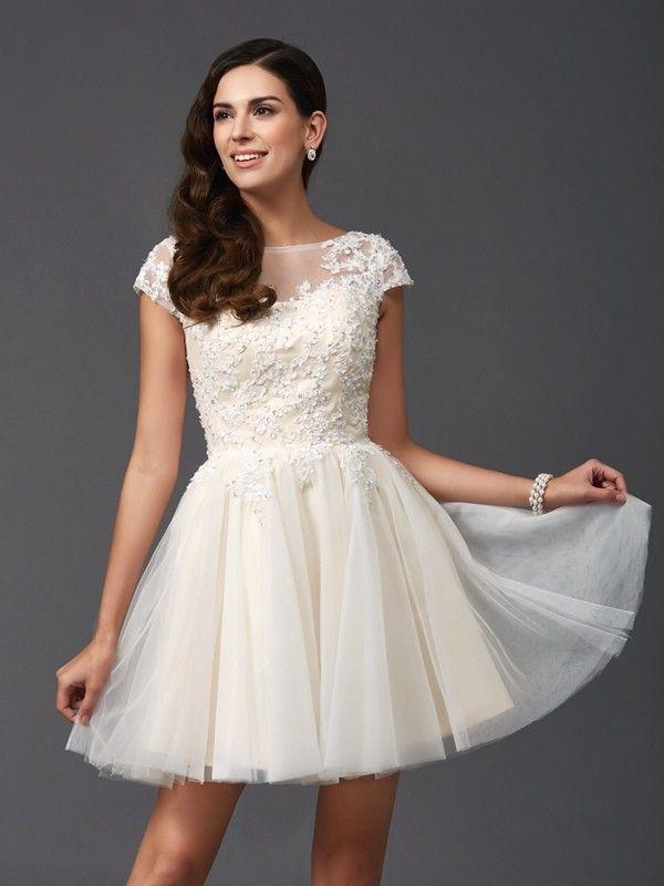 314e5b7b997 A-Line Princess Scoop Applique Short Sleeves Short Mini Net Dresses - Jolly  She