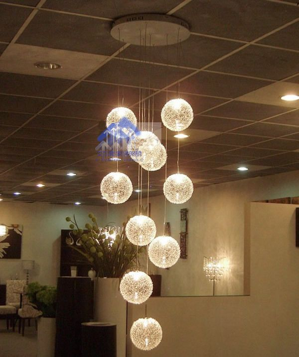 Lighting Lamps Aluminum Wire Ball Pendant Light Brief Modern Stair Lamp  Glass Aluminum Wire Stair Lamp