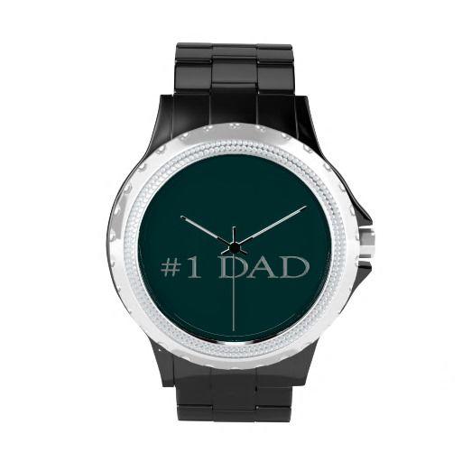 Custom Silver #1 Dad Rhinestone Watch