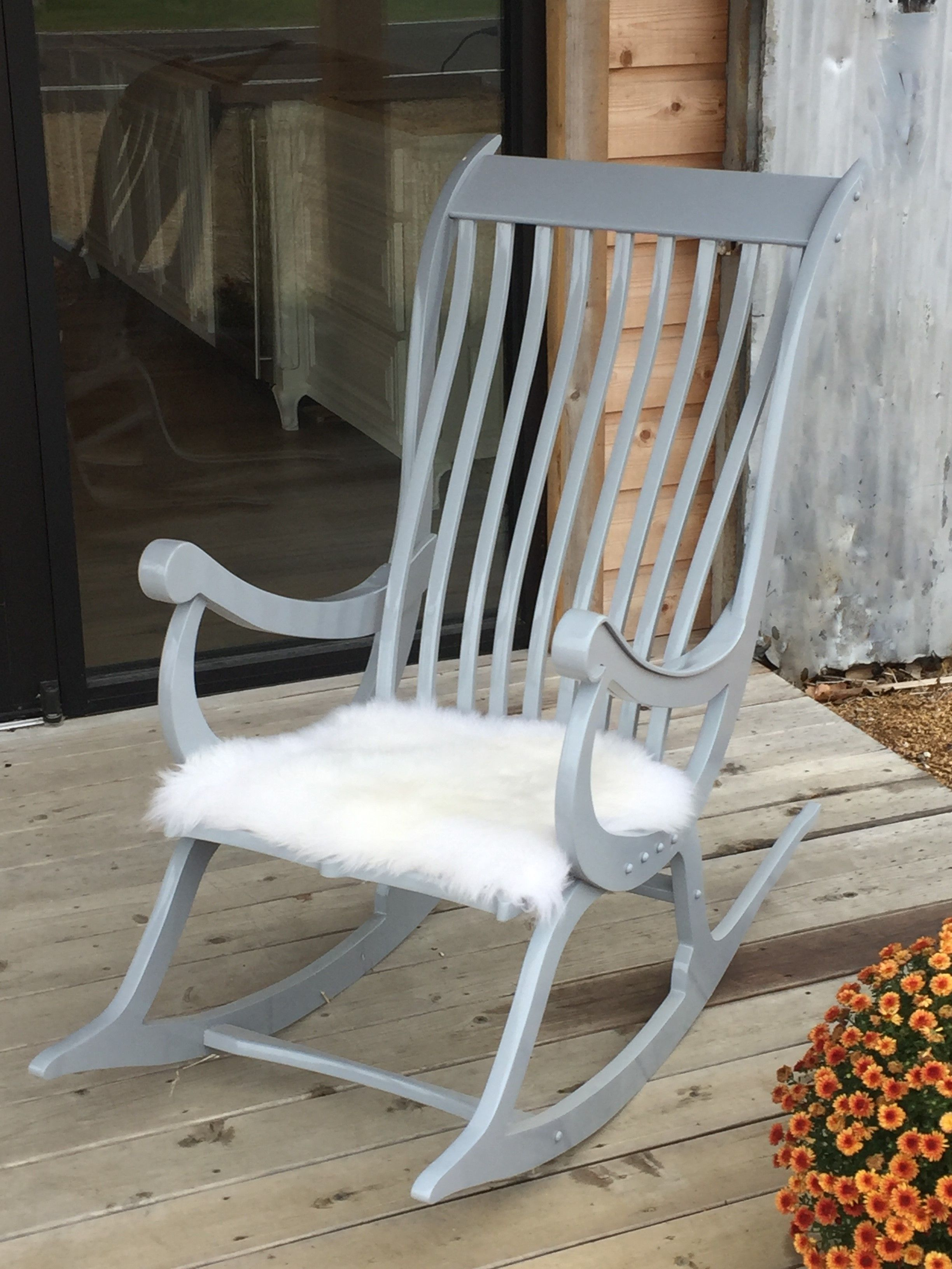 Painted Gray with custom sheepskin seat cover in white