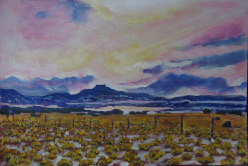 """""""New Mexico Pedernal"""" Acrylic on paper, 12"""" x 18"""" $250 (not framed) #Polly Jackson"""