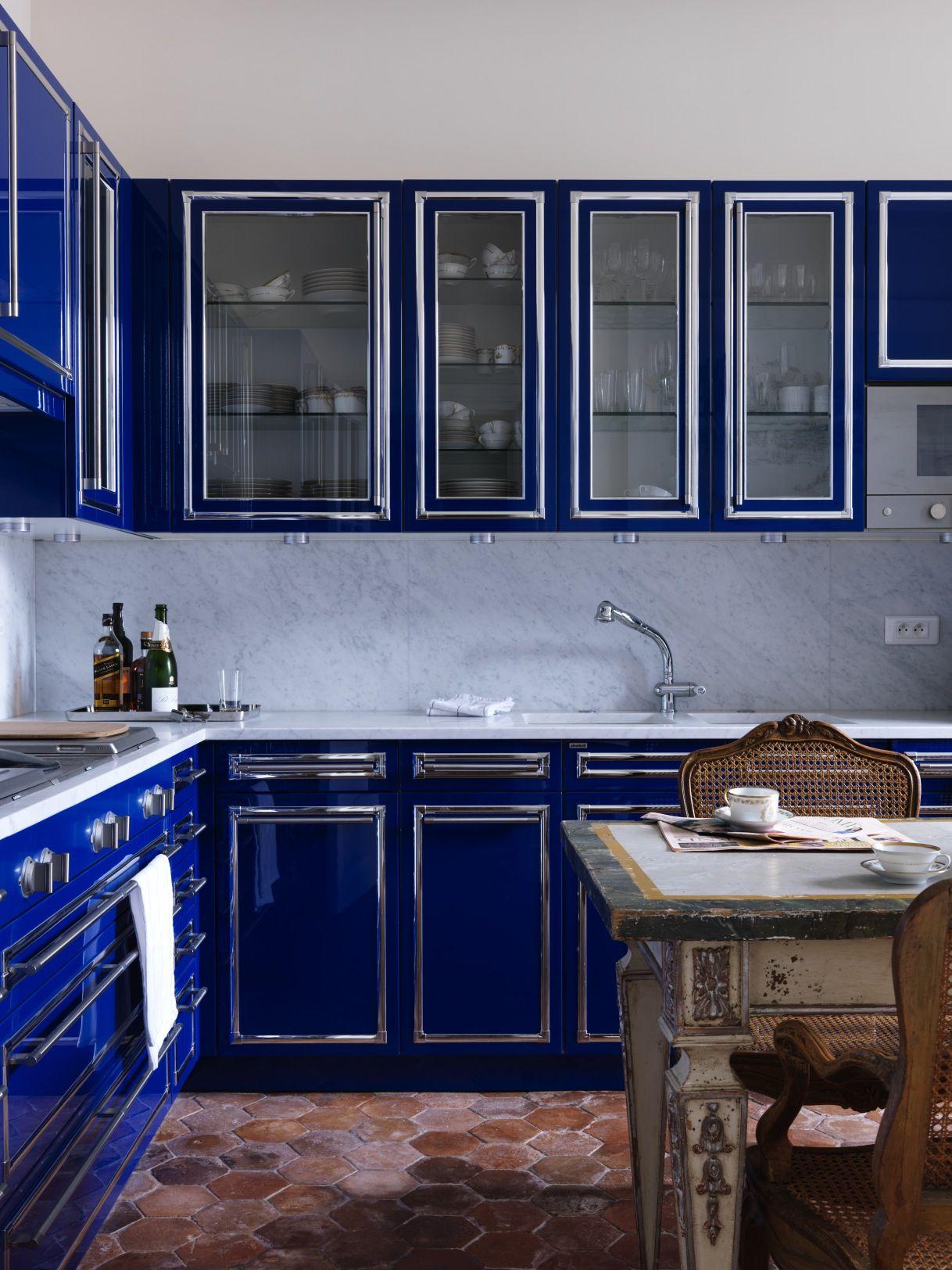 Royal Blue Kitchen Design, Carved Wood Kitchen Cabinets | Blue ...