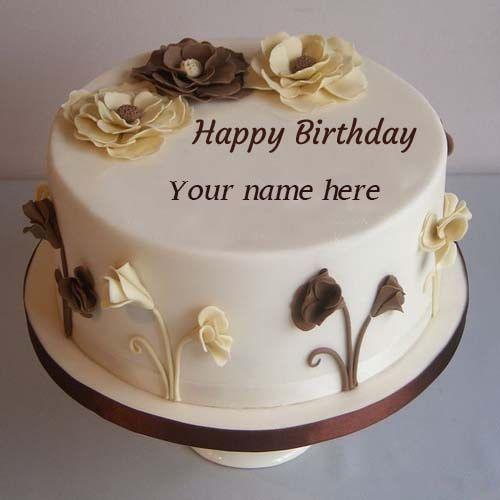 Flower Decorated Happy Birthday Cake Pics Name Edit Hbd