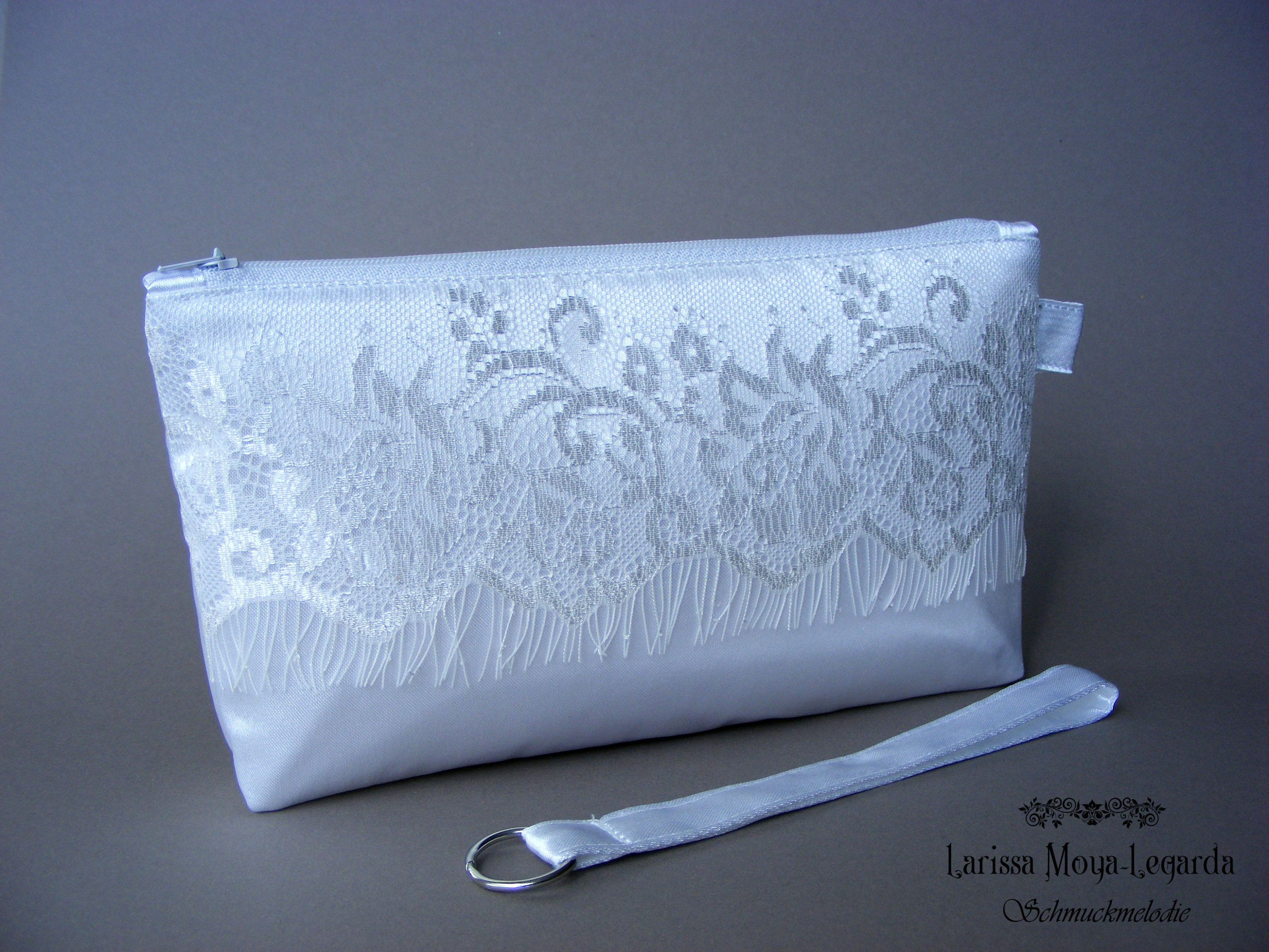 Bridal Bag Wedding In Satin Bride Clutch With Lace Bag Bride In 2020 Brauttasche Braut Und Brautaccessoires