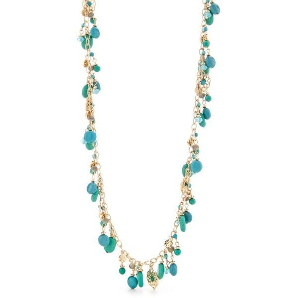 Chaps Teal Nk-34In Illusi ($26) ❤ liked on Polyvore featuring jewelry, necklaces, teal, beach jewelry, stone necklace, teal jewelry, beachy jewelry and teal necklace