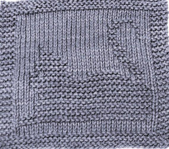 Baby Washcloths Knitting Patterns: Knitting Cloth Pattern - GRAY KITTY - PDF