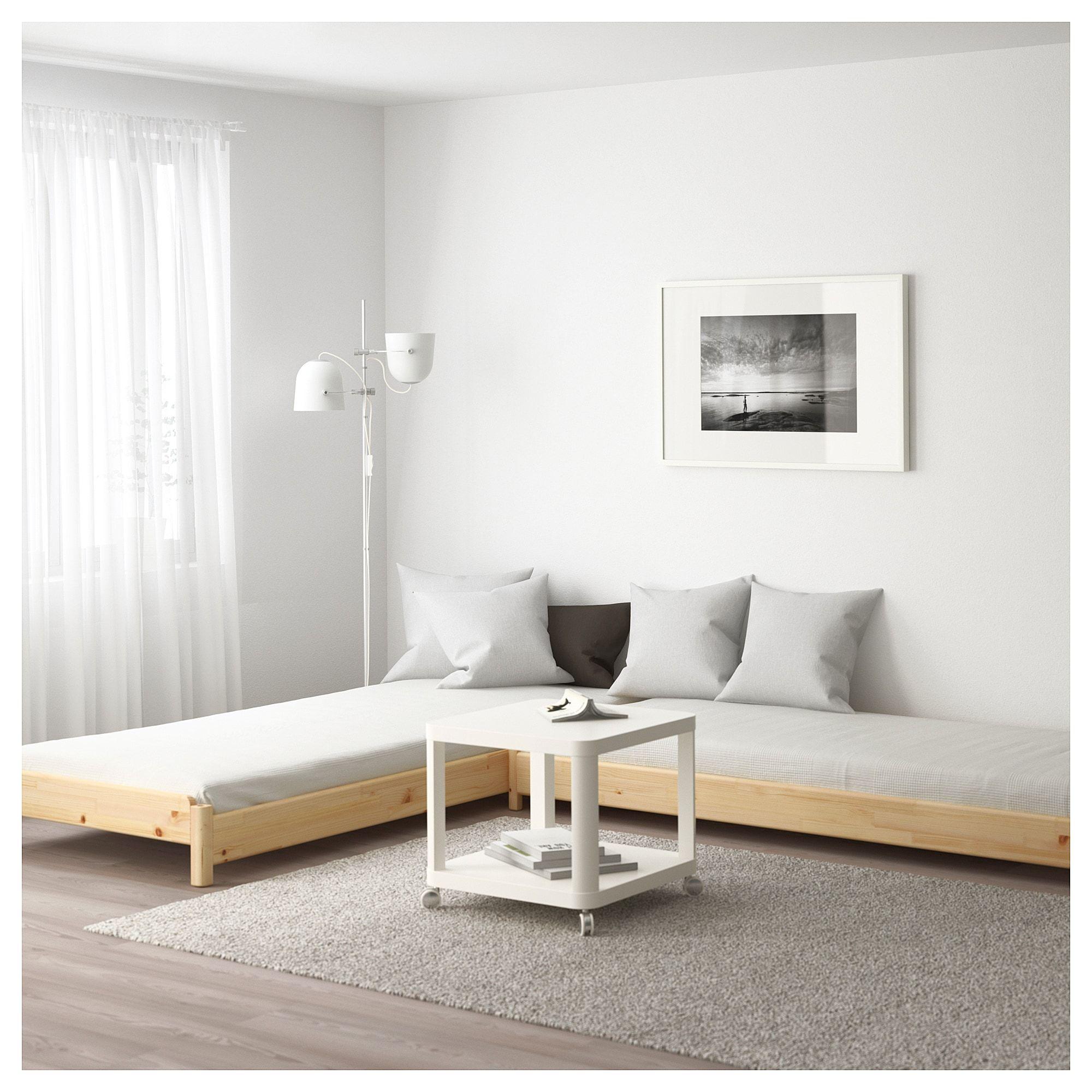 IKEA UTÅKER Stackable bed with 2 mattresses pine