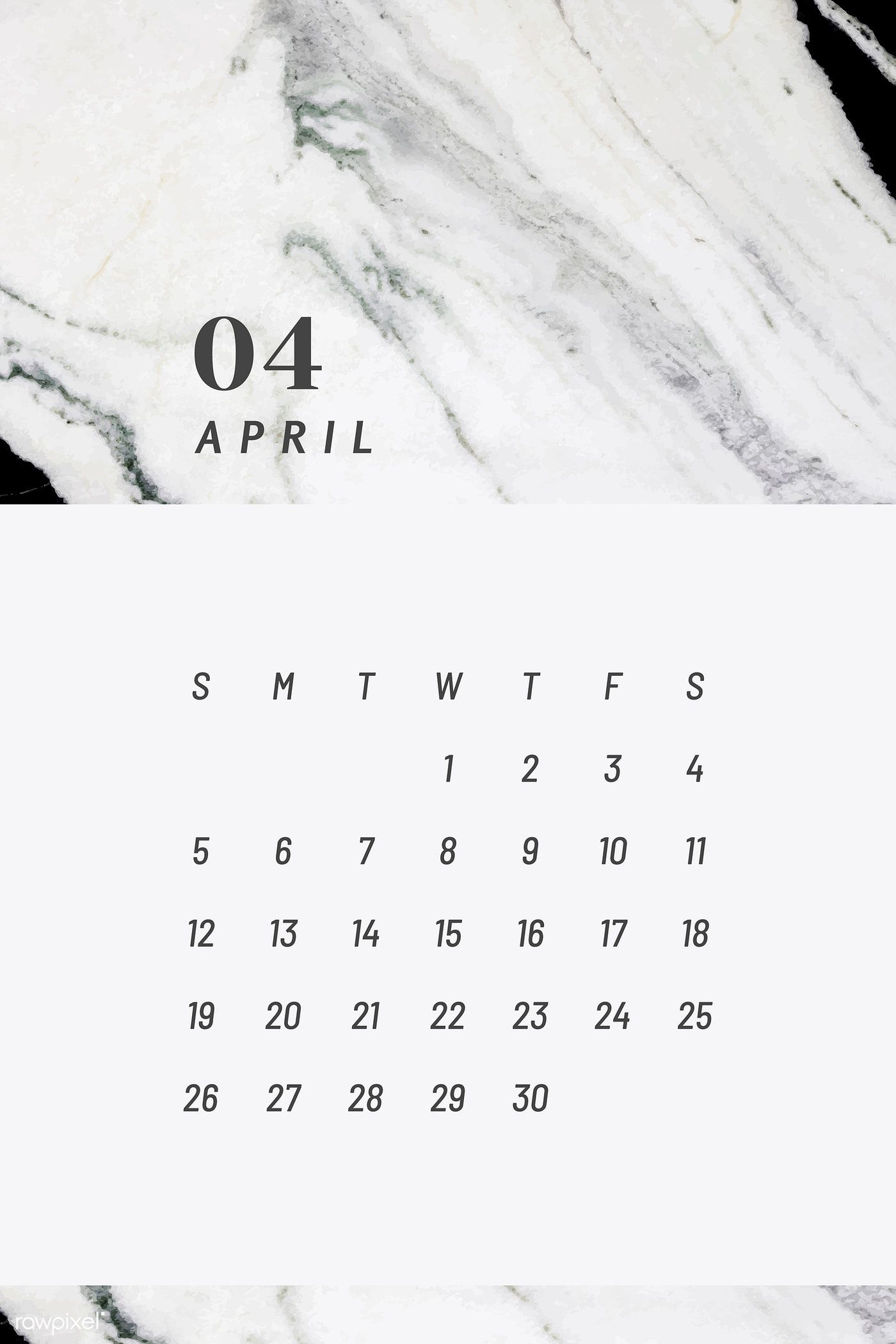 Download Premium Vector Of Black And White April Calendar 2020