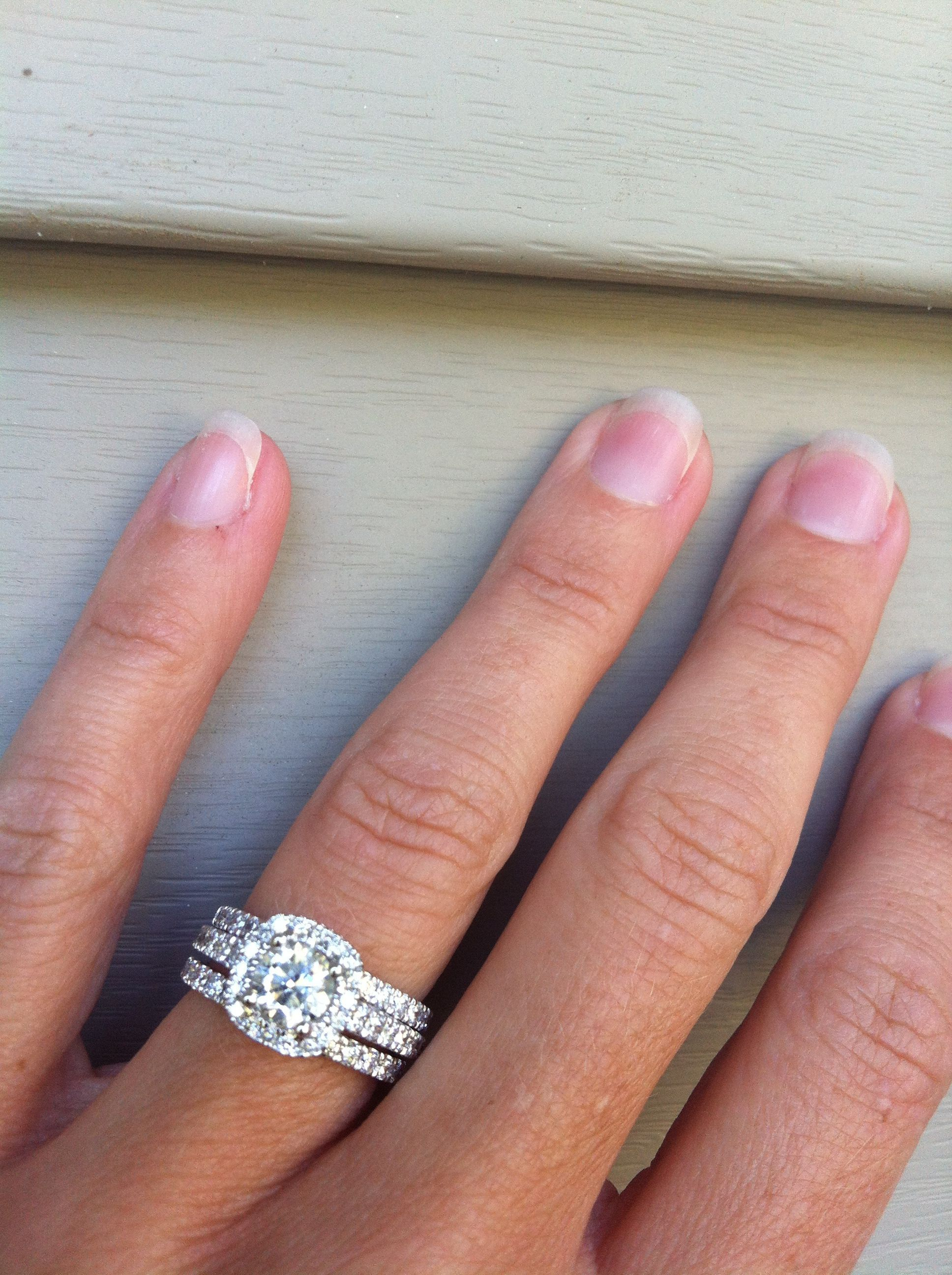 Cushion Halo Engagement Ring With Two Wedding Bands But I Want The Band S Rose Gold Perfect Cushion Halo Engagement Ring Wedding Rings Wedding Rings Halo