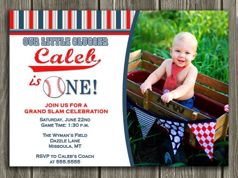 Printable Baseball Birthday Invitation Boy First Birthday Party - Digital first birthday invitation