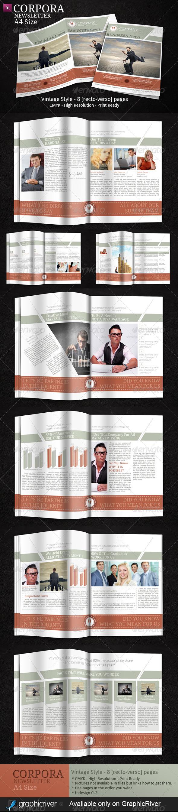 Business Newsletter Vintage Style  Newsletter Ideas Indesign