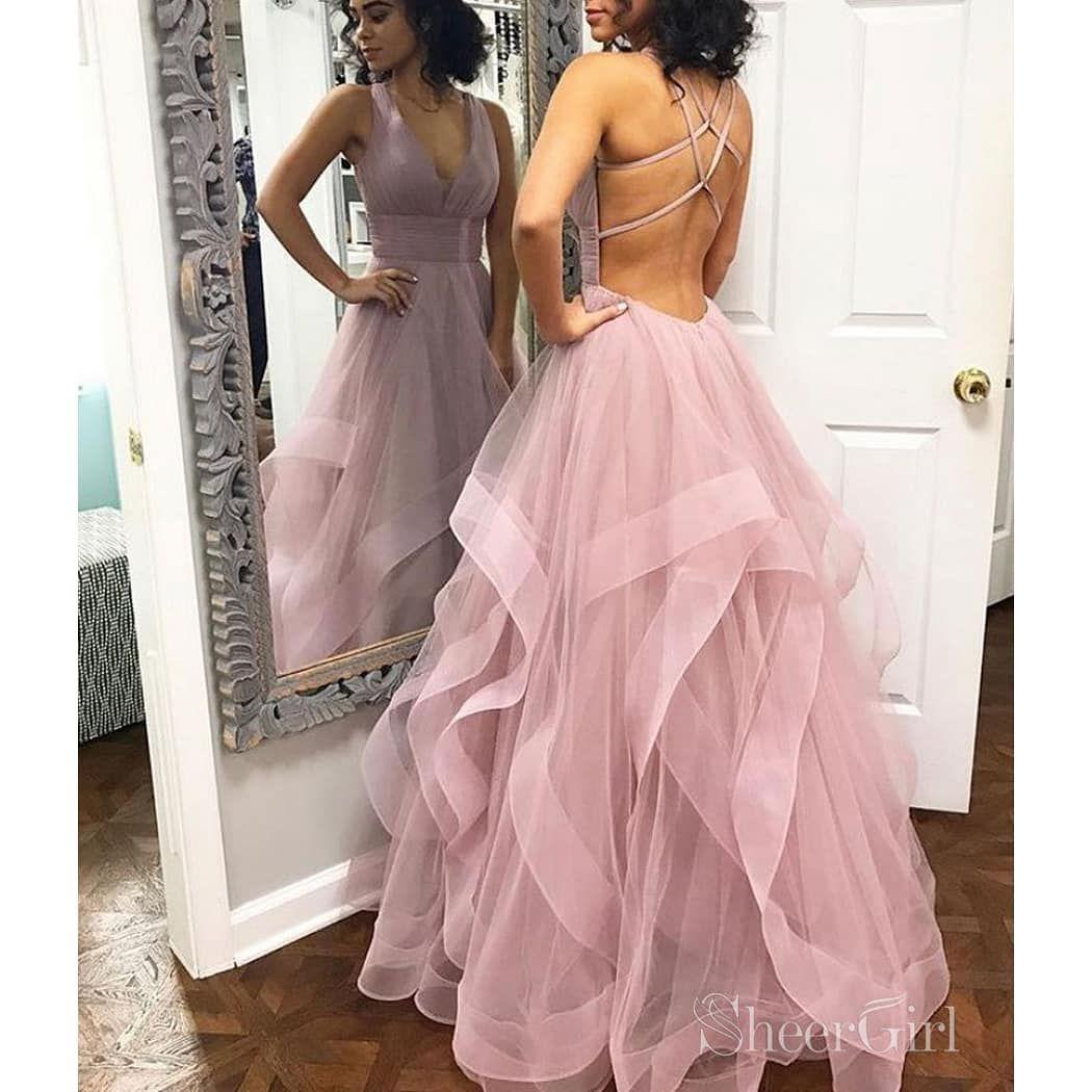 Heiß!!! Einfaches, staubiges, rosafarbenes Abendkleid