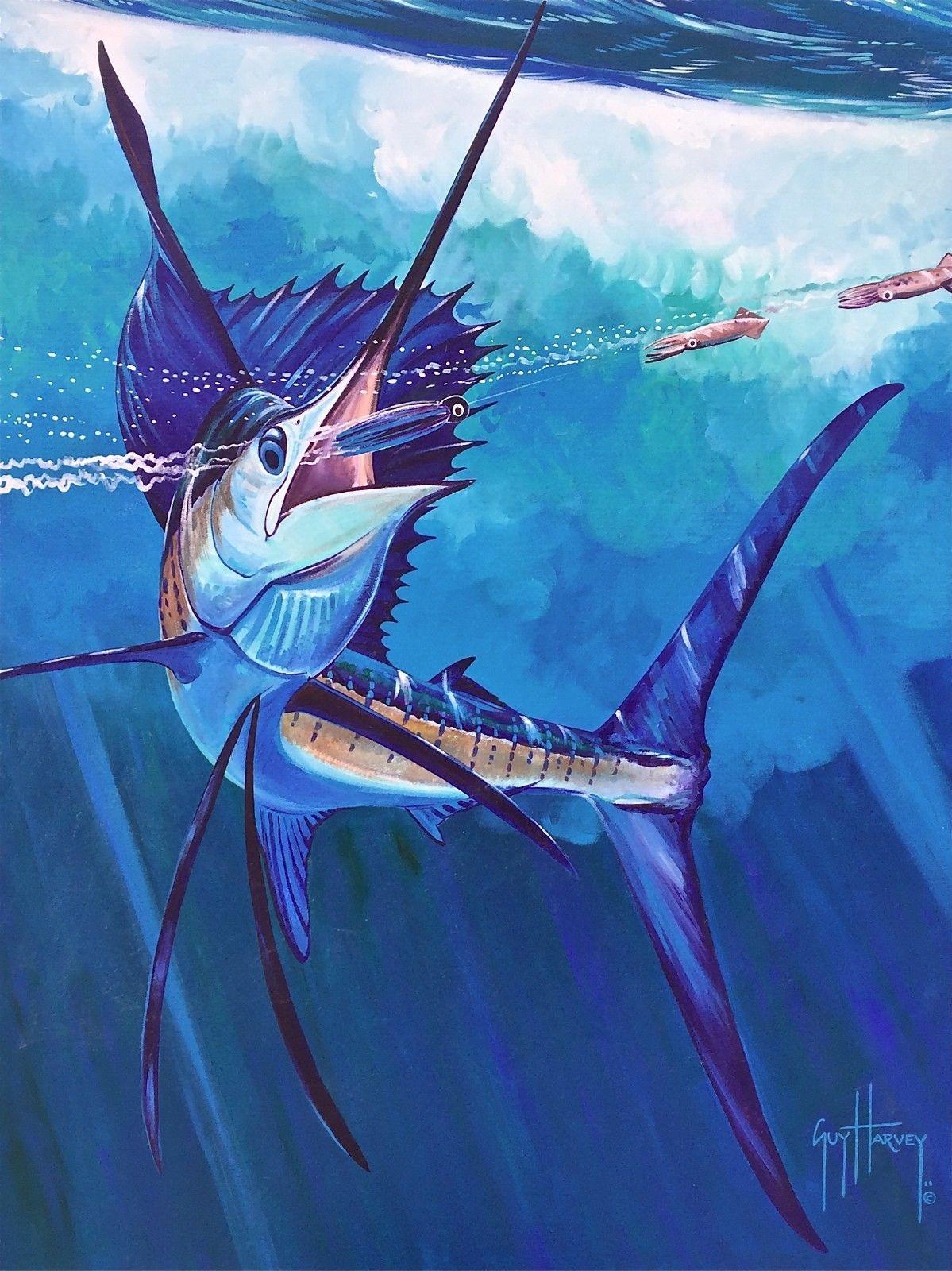 Marlin Catch Original Acrylic Painting On Canvas Guy Harvey Guy Harvey Art Fly Fishing Art Acrylic Painting Canvas