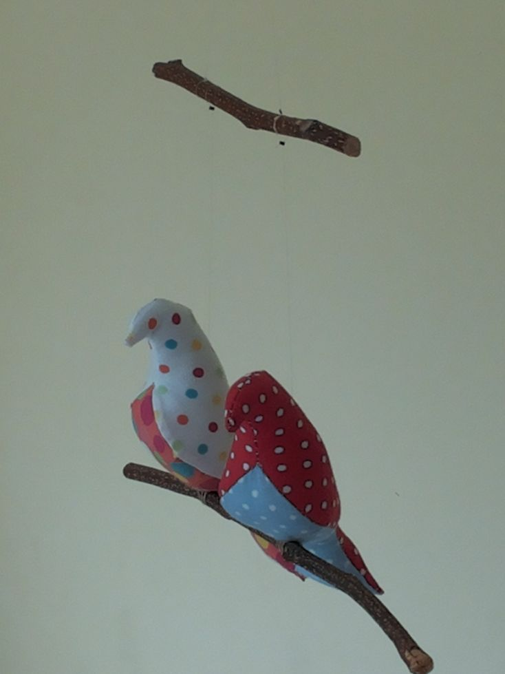handmade mobile for nursery or kids room, baby boy or baby girl, 2 birds on a branch