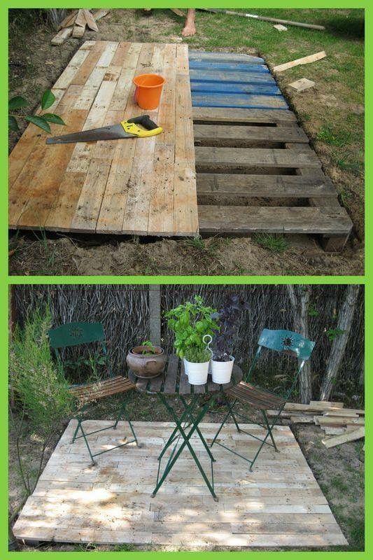 Idée de terrasse en palettes | Outside | Pinterest | Gardens ...