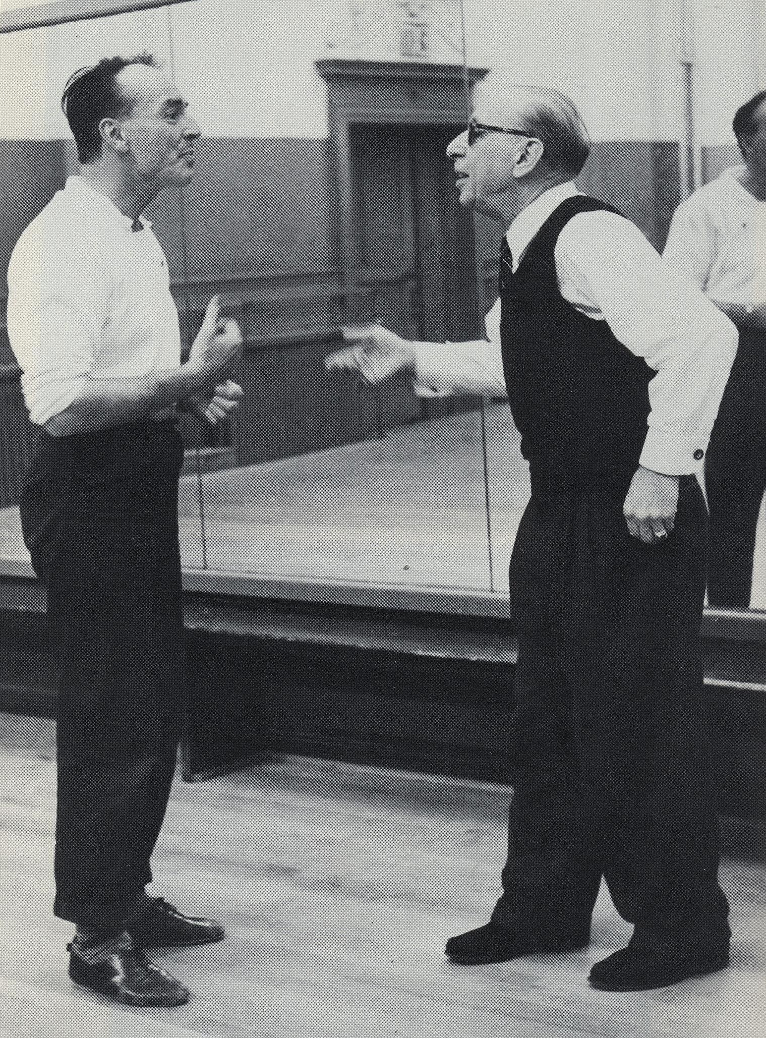 Igor Stravinsky and George Balanchine in rehearsal while working on ...