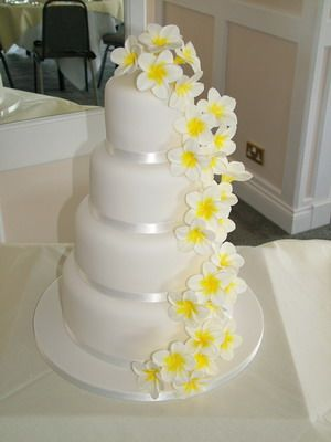 Wedding Cake Inspiration Frangipani Yellow With White Icing Various Cakes Of Different