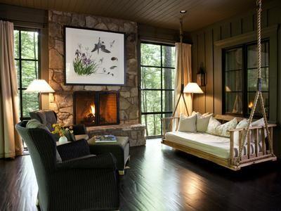 Schaukel Wohnzimmer ~ Wohnzimmer rustikale möbel kamin enclosed lakeside porch ideas