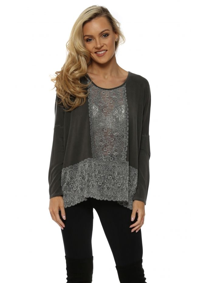 A POSTCARD FROM BRIGHTON Binkie Bark Lace Insert Slouch Top