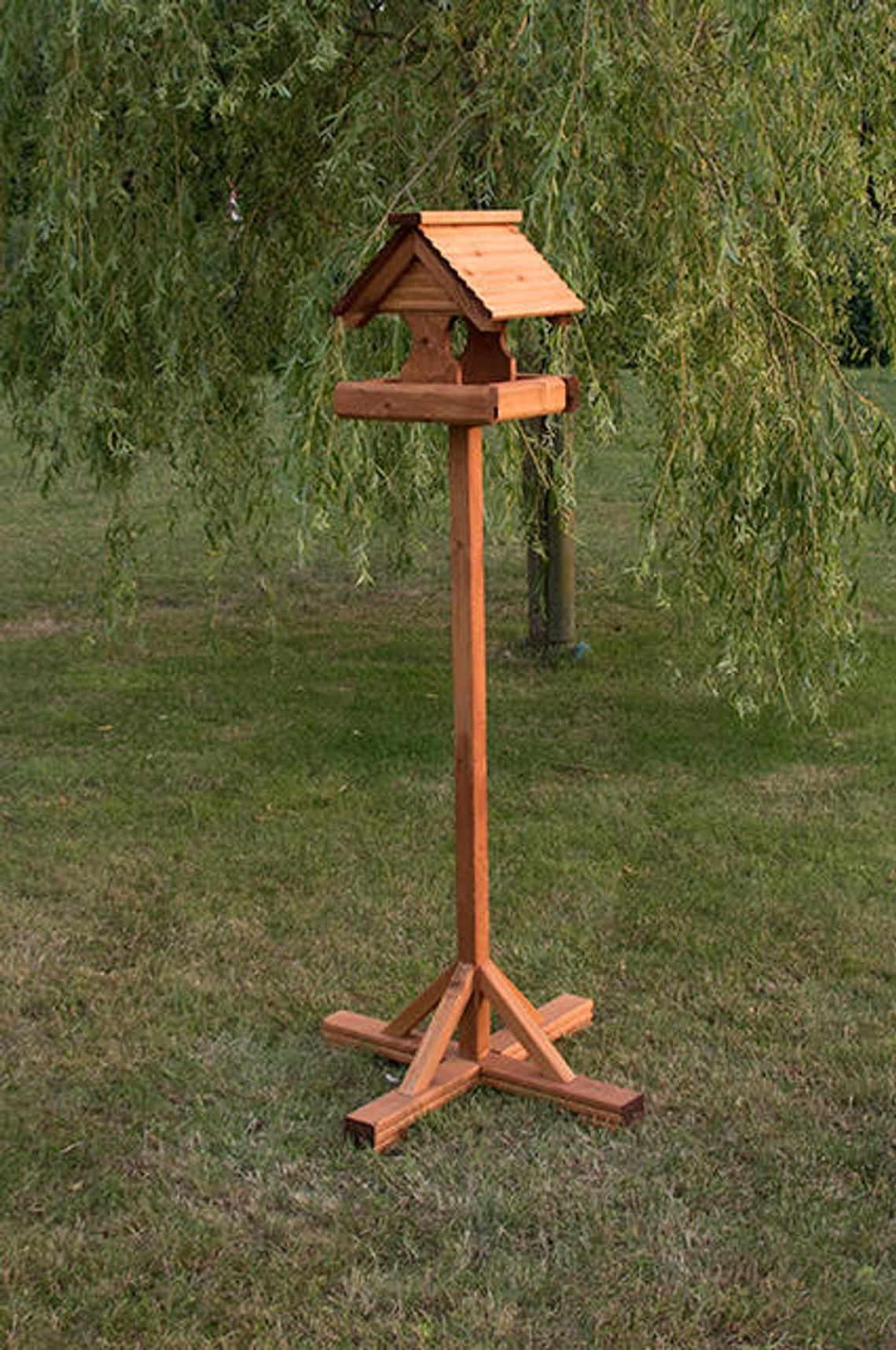 Rustic Wooden Roof Bird Table Bird Houses Rustic Wooden Tables