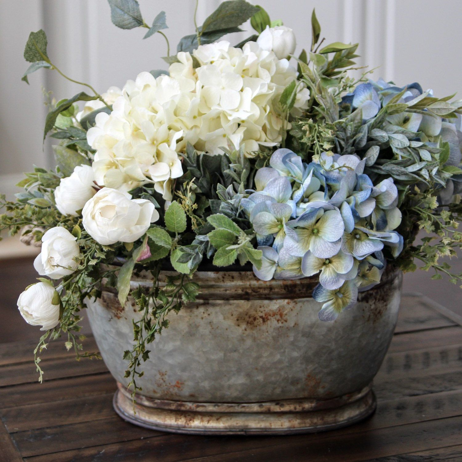 Blue Hydrangeas Florals Flowers French Country