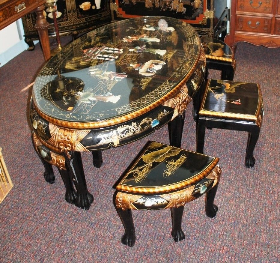 """Oriental Oval Coffee Table: Black Lacquer Asian Glass 48"""" Oval Coffee Table Sushi Tea"""