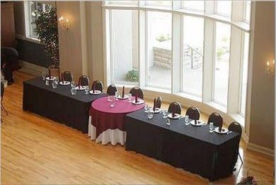 i like the 2 rectangle tables and 1 round table look for the wedding party table.. You could even set the rectangle tables at an angle! :)