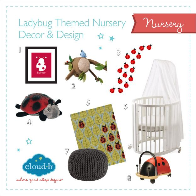 Check out our latest ladybug inspired nursery design ideas to make your nursery wow-worthy! Don't forget Cloud b's Twilight Ladybug to top it off! #Cloudb