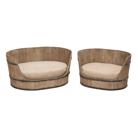 Decmode 2 Set Farmhouse 23 Inch Amp 29 Inch Oval Wooden Pet