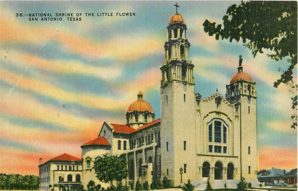 Postcard National Shrine of the Little Flower San Antonio