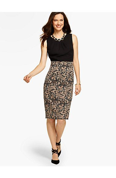 c333b79e5250 Colorblocked Paisley-Print Sheath Dress - Talbots   My Style ...