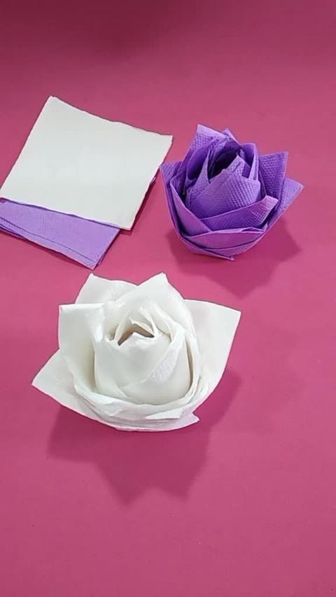 Schauen Sie, wie einfach es ist, rosa Servietten aus Papier zur Dekoration herzustellen