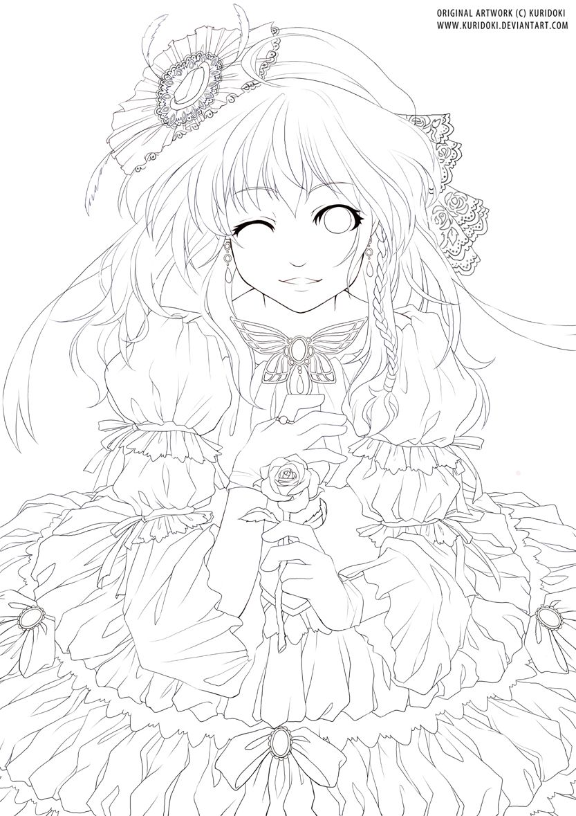 Lady And Rose Lineart By Kuridoki On Deviantart Cute Coloring Pages Animal Coloring Pages Cool Coloring Pages [ 1179 x 833 Pixel ]