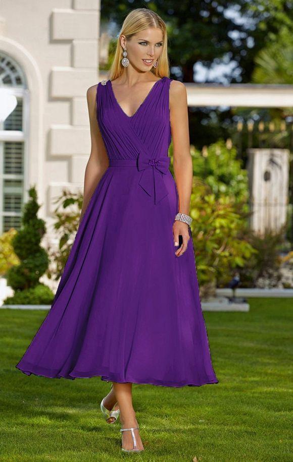 Feminine tea length chiffon occasion wedding bridesmaid dress in a ...