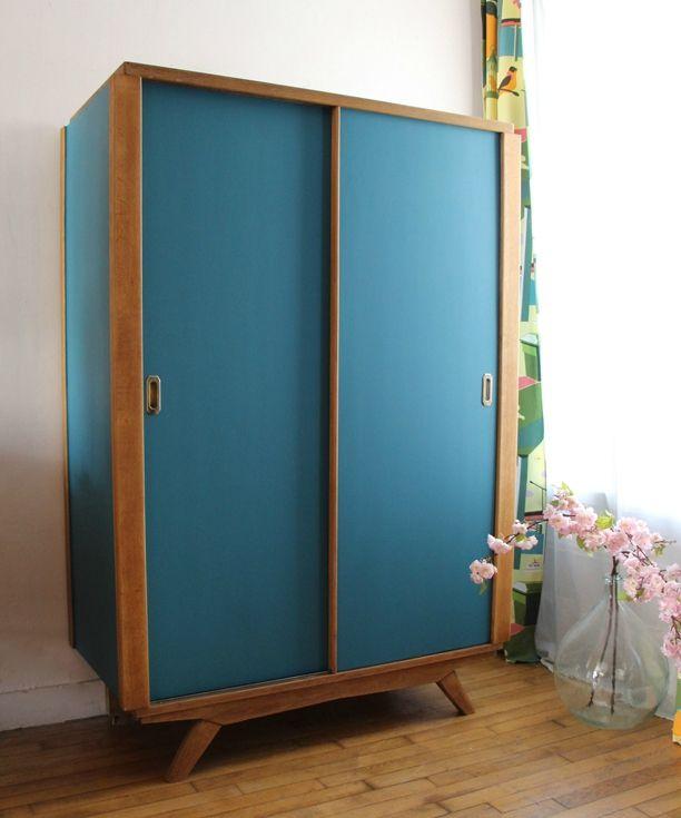 armoire vintage portes coulissantes