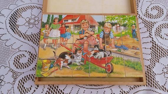 Vintage 1950s Picture Cubes of Wood, Childrens Game, Wooden Puzzle Blocks