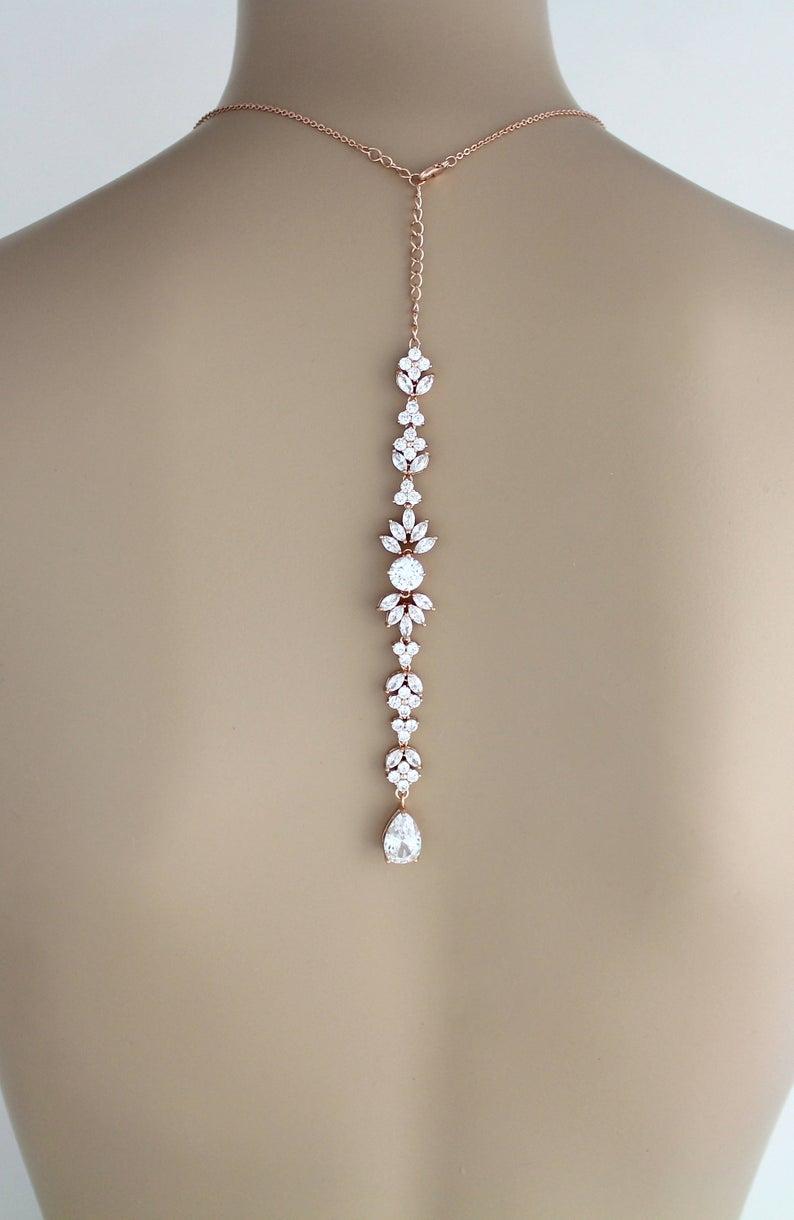 Rose Gold Back Drop Bridal Necklace Backdrop Necklace Crystal Leaf Necklace Bridal Jewelry SET Rose gold necklace and earrings Wedding Day #preguntassevilla