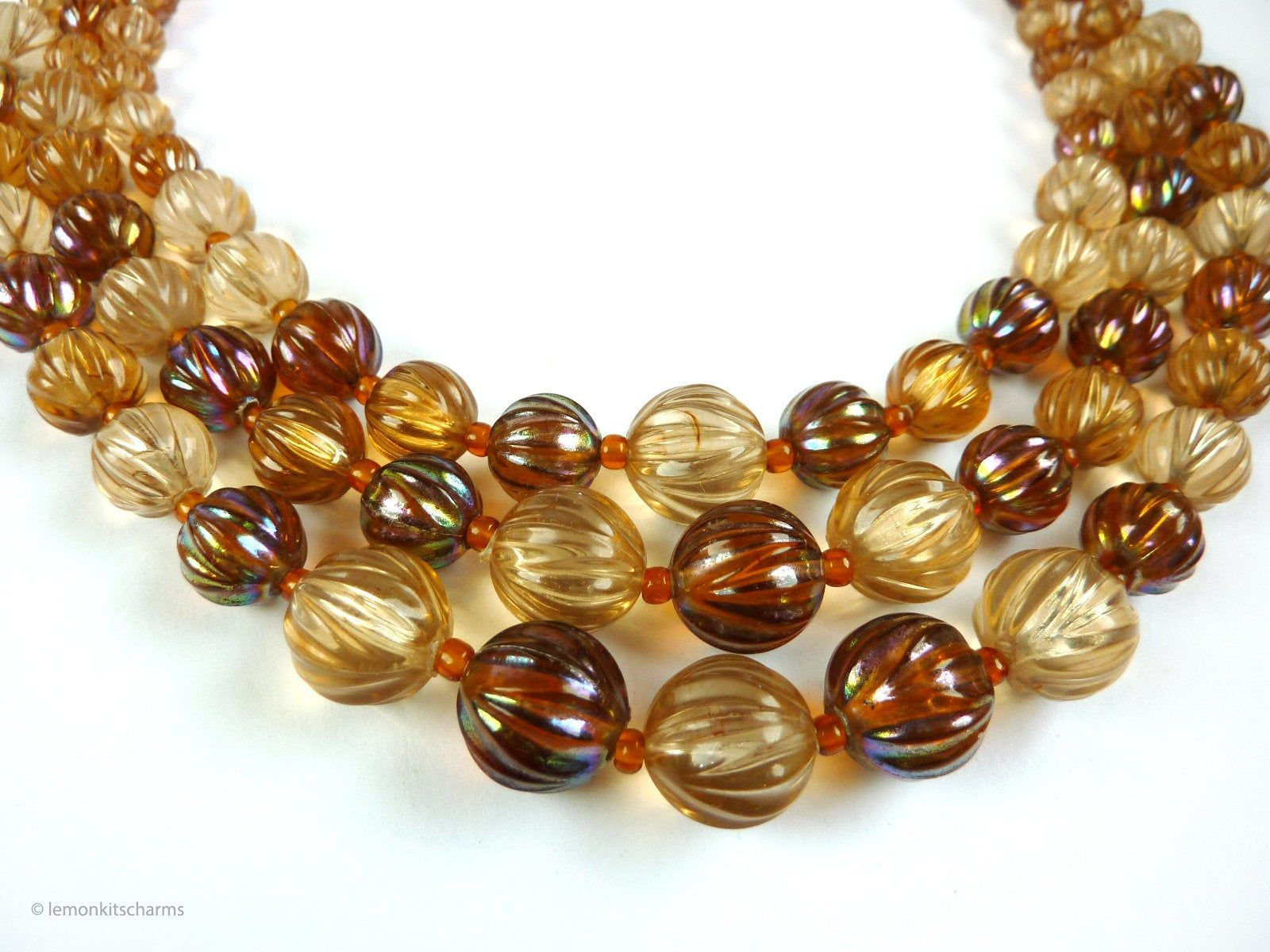 West German 3 Strand ABS /& White 3 Strand Necklace