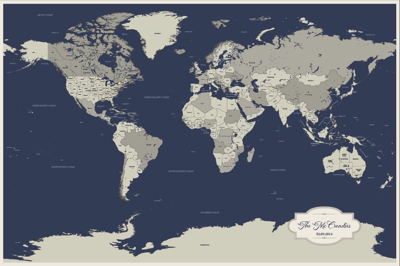 2nd Anniversary Gift for Him, Navy World Push Pin Map ...  Pushpin Map