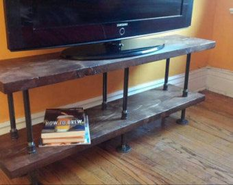 Industrial Pipe And Wood TV Stand || Media Console || Entertainment Unit ||  Rustic Bookshelf || Custom Handmade TV Stand || Steel And Wood