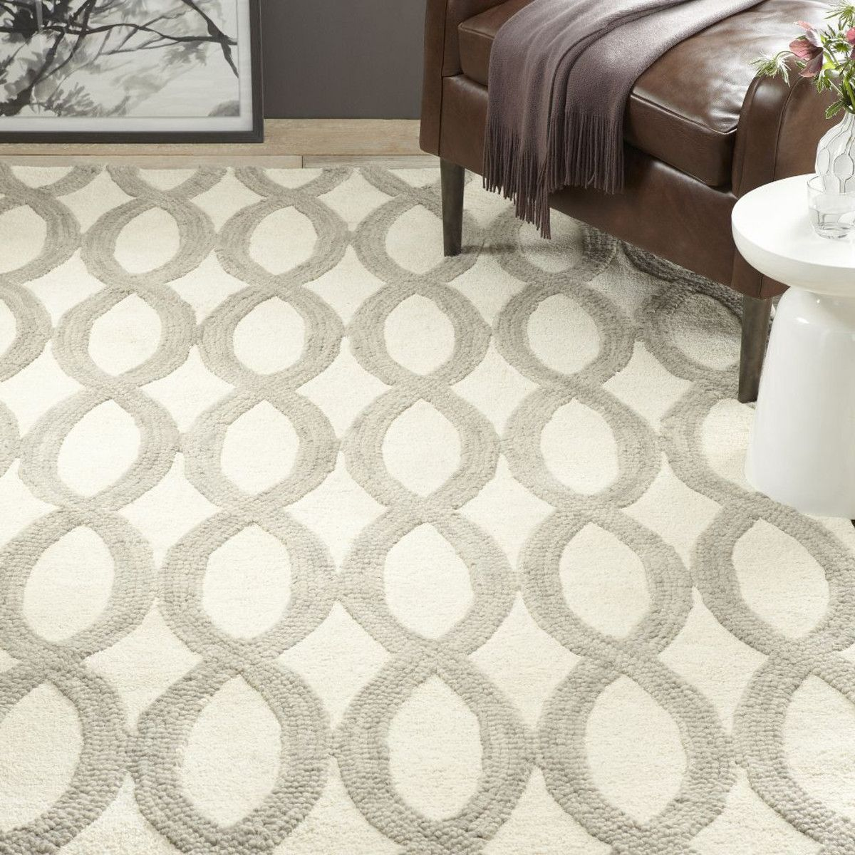 Linking loops wool rug ivory option for main living need 2x3m
